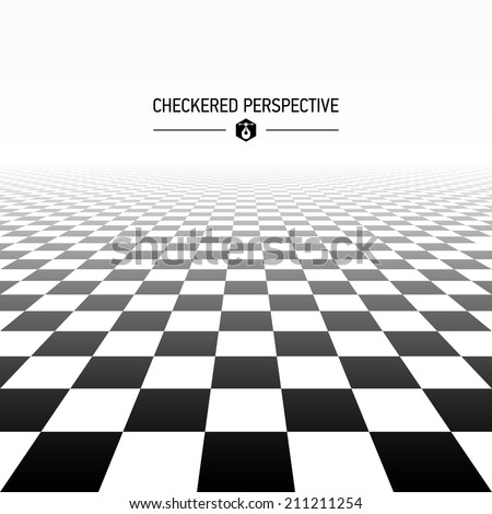 Checkered perspective background. Vector. - stock vector