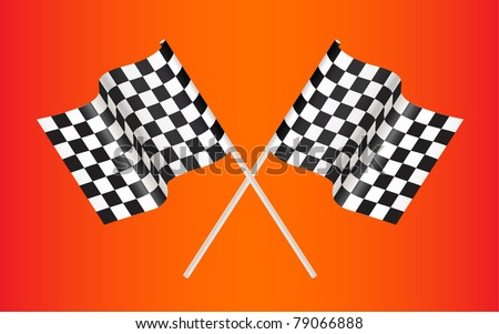 checkered racing flag on red background