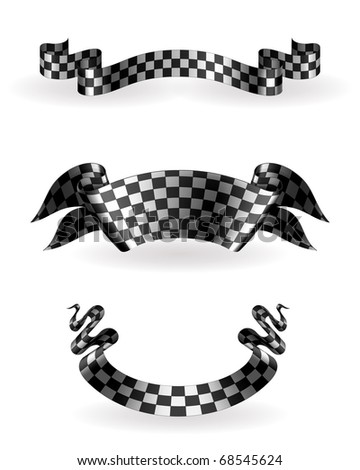 Checkered ribbons set, 10eps - stock vector