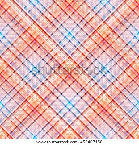 Checkered seamless pattern of interwoven colored thin strips. Motley abstract symmetrical background. Tartan template for fabrics, wallpaper. Vector eps10 - stock vector