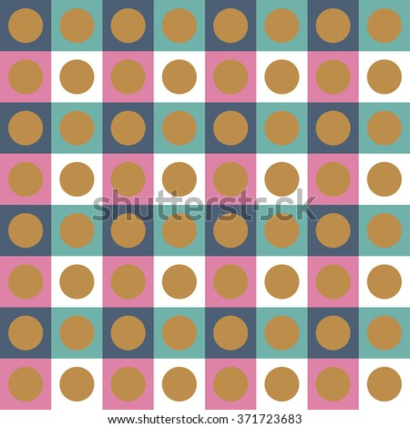 Checkered seamless pattern with circles.Abstract geometric background. Vector illustration.