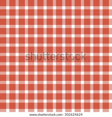checkered seamless table cloths pattern red colored - stock vector