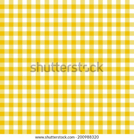 Checkered tablecloths pattern - endless - yellow - stock vector