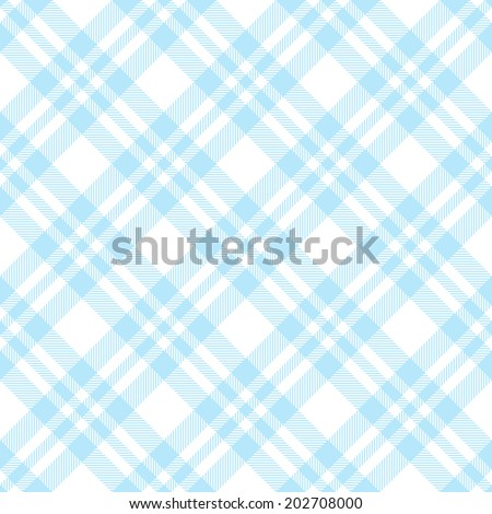 Checkered tablecloths pattern endlessly - light blue - stock vector