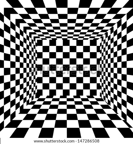 Checkered texture 3d background. - stock vector