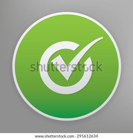 Checking design icon on green button. - stock vector