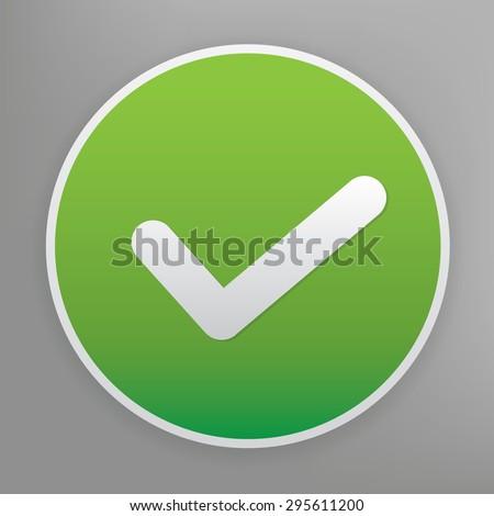 Checking design icon on green button, clean vector - stock vector