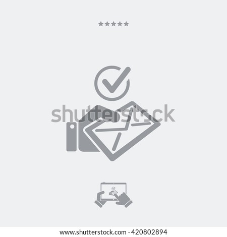 Checking mail flat icon - stock vector