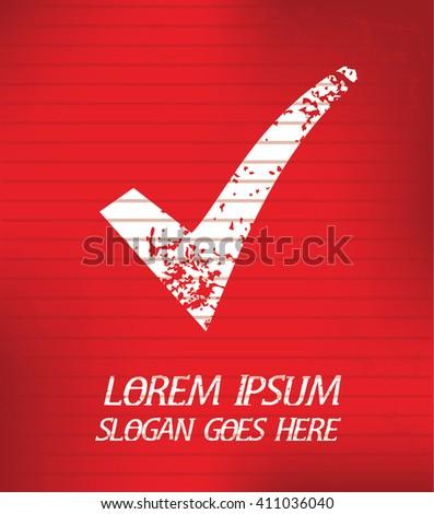 Checking mark on red background,poster grunge design - stock vector