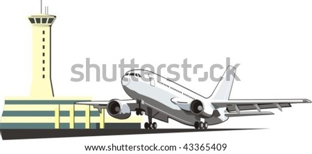 checking the boarding of the plane with  towers - stock vector
