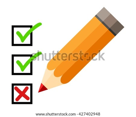 Checklist and pencil. Checking off tasks. White background. Red pencil. Green check mark. Green tick icon - stock vector