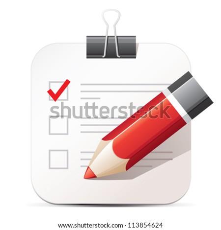 Checklist and pencil icon - stock vector