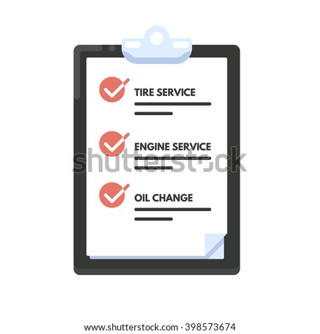Checklist car maintenance. List icon. Vector flat illustration isolated on white background.