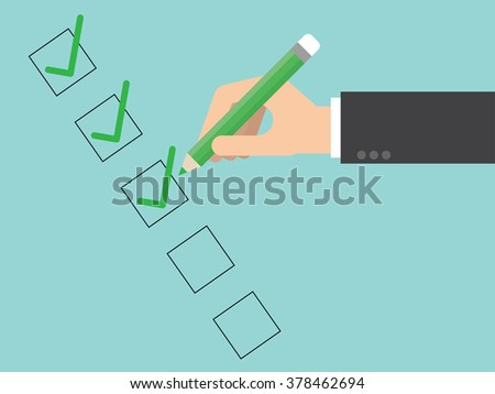 Checklist close up. Flat design for business financial marketing banking advertisement office people life property stock fund commercial in minimal concept cartoon illustration.