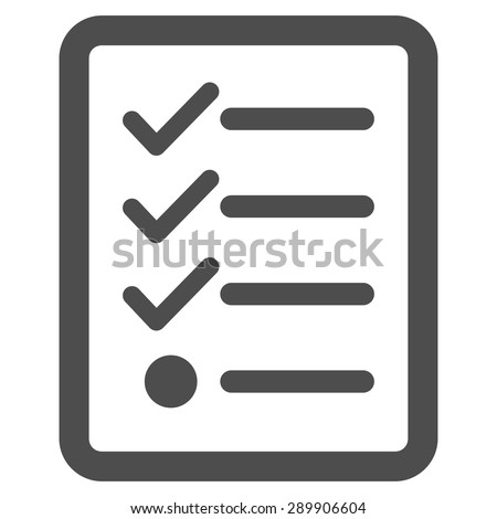 Checklist icon from Business Bicolor Set. Vector style: flat symbol, gray color, rounded angles, white background. - stock vector