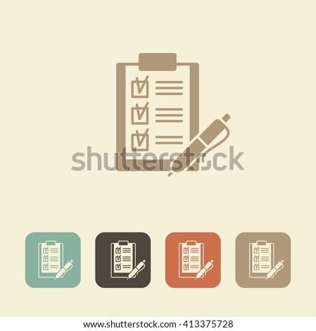 Checklist on a clipboard with pen icon - stock vector