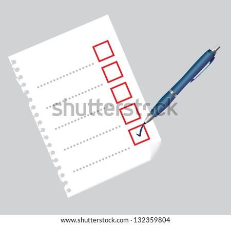 Checklist on paper sheet and pen, illustration - stock vector