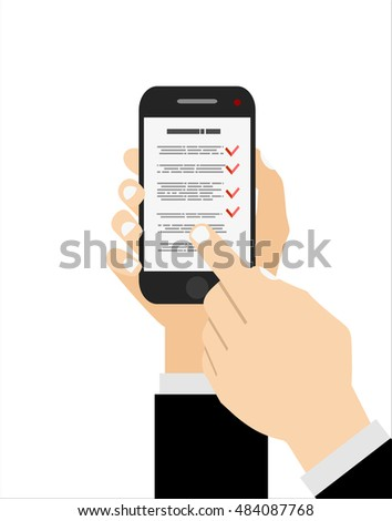 Checklist on smartphone screen. One hand holds smartphone and finger touch screen. Flat vector illustration.