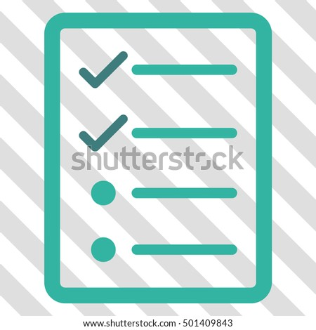 Checklist Page vector icon. Image style is a flat cobalt and cyan icon symbol on a hatched diagonal transparent background.