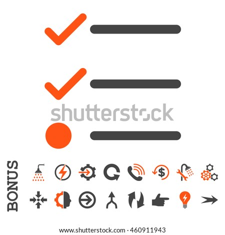 Checklist vector bicolor icon. Image style is a flat iconic symbol, orange and gray colors, white background.