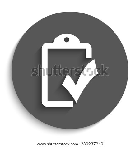 checklist  - vector icon with shadow on a round grey button - stock vector