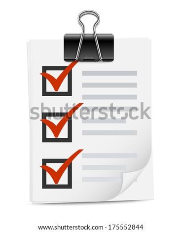 Checklist with binder clip icon - stock vector