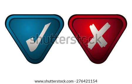 Checkmark and X Sign on Blue and Red Triangles, Vector Illustration isolated on White Background.