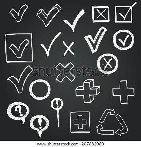 Checkmarks and checkboxes drawn in a doodled style on chalkboard background. - stock vector
