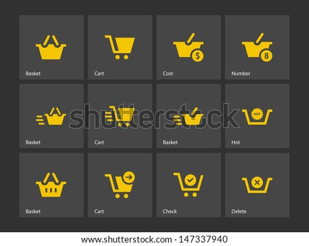 Checkout icons on gray background. Vector illustration. - stock vector