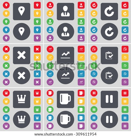 Checkpoint, Avatar, Reload, Stop, Graph file, Survey, Crown, Cup, Pause icon symbol. A large set of flat, colored buttons for your design. Vector illustration - stock vector