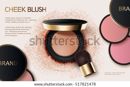 Cheek blush ads, 3d illustration cosmetic ads design with powder compact and brush