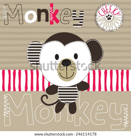 cheeky monkey on striped background - stock vector