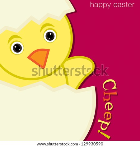 Cheep! Chick Happy Easter Card in vector format.