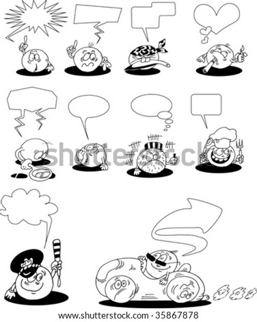 Cheerful and angry symbols talk; - stock vector