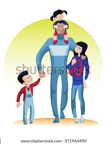 Cheerful and positive young father going 