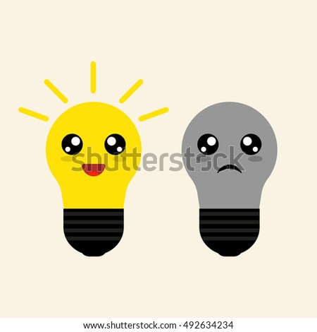 light bulbs for sad cheerful and sad light bulbs vector graphic. Black Bedroom Furniture Sets. Home Design Ideas