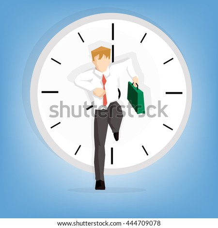 cheerful attractive businessman in a hurry ((Business concept cartoon illustration) - stock vector
