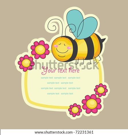 cheerful bee. vector illustration - stock vector