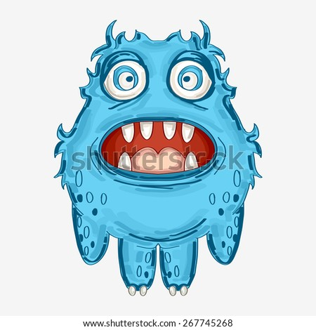 cheerful blue monster vector