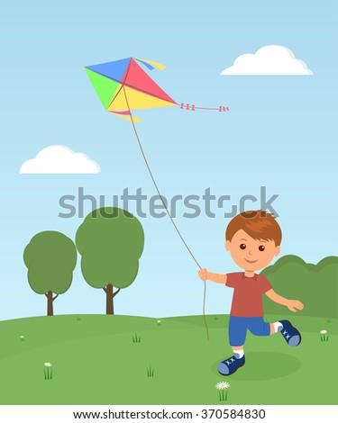 Cheerful boy enjoying flying kite - stock vector