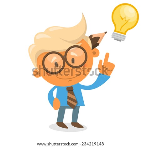 Cheerful boy in blue shirt. Office theme vector illustration - stock vector