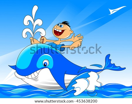 Cheerful boy on the back of a large blue whale, vector - stock vector