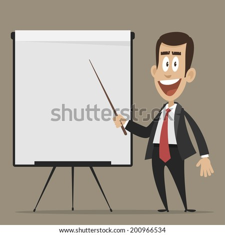 Cheerful businessman points to flipchart - stock vector