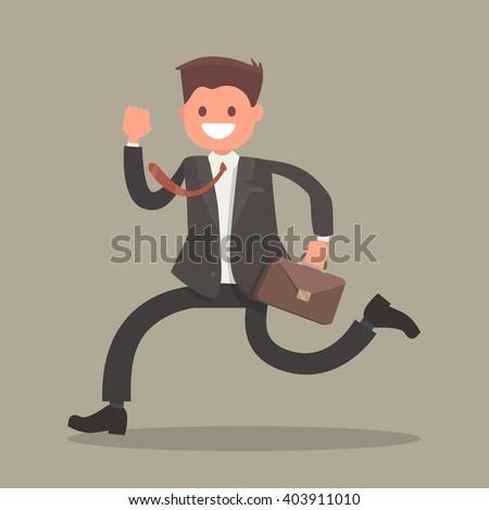 Cheerful businessman running. Vector illustration of a flat design - stock vector