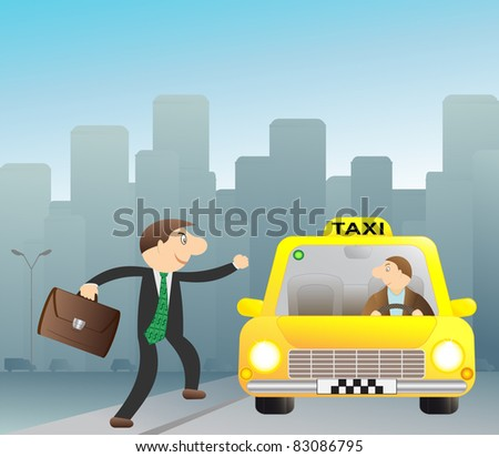 Cheerful businessman stops free taxi - stock vector