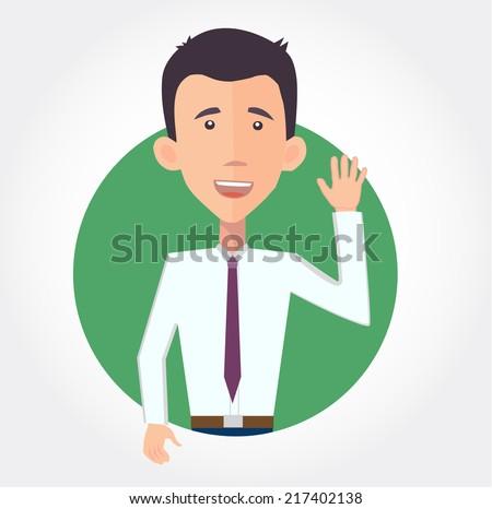 cheerful businessman waving hello - flat design vector  - stock vector