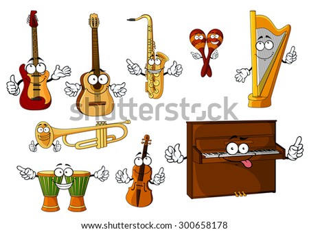 Cheerful cartoon classic musical instruments characters with african djembe drums, upright piano, harp, mexican maracas, trumpet, saxophone, violin, guitars isolated on white background - stock vector