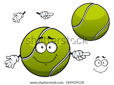 Cheerful cartoon tennis ball character depicting green ball with white wavy line and cute smile for sporting mascot or childish design - stock vector