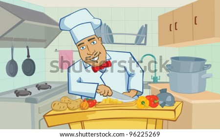 Cheerful chef cooks in the kitchen - stock vector
