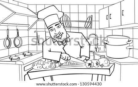 Cheerful chef cooks in the kitchen, black and white illustration - stock vector